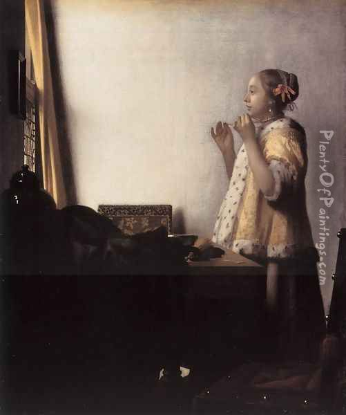 Woman with a Pearl Necklace 1662-64 Oil Painting - Jan Vermeer Van Delft