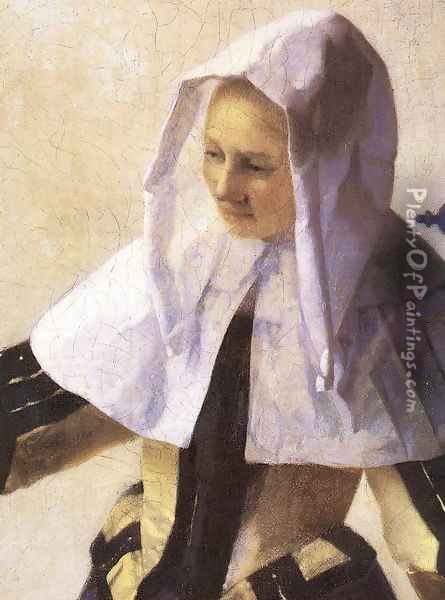 Young Woman with a Water Jug (detail-2) 1660-62 Oil Painting - Jan Vermeer Van Delft