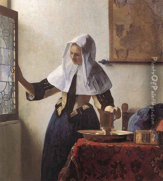 Young Woman with a Water Jug 1660-62 Oil Painting - Jan Vermeer Van Delft