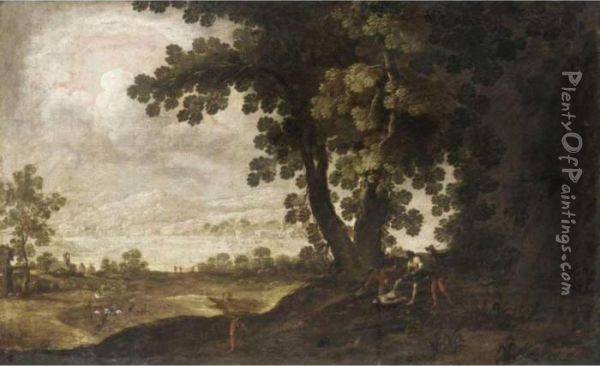 A Wooded Landscape With Bandits Attacking Travellers Oil Painting - Jan Wildens
