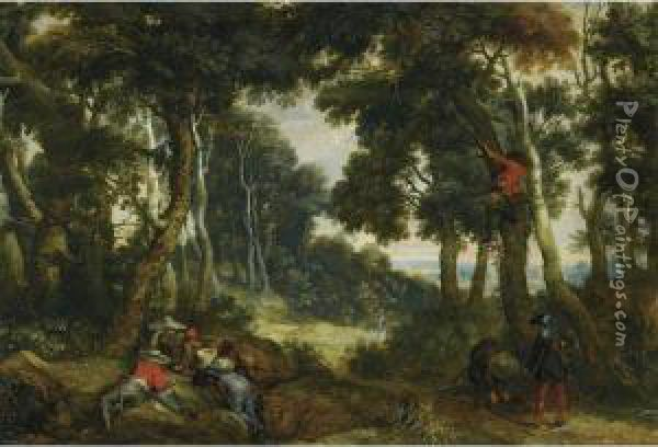 A Wooded Landscape With Brigands Playing Dice, Another Brigand Upin A Tree, On The Lookout Oil Painting - Jan Wildens
