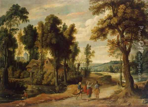Landscape with Christ and his Disciples on the Road to Emmaus Oil Painting - Jan Wildens