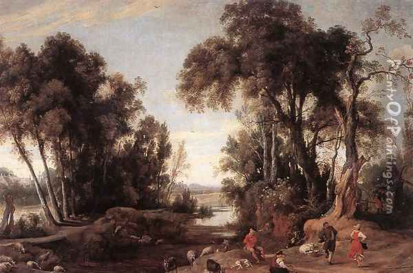 Landscape with Shepherds 1631 Oil Painting - Jan Wildens