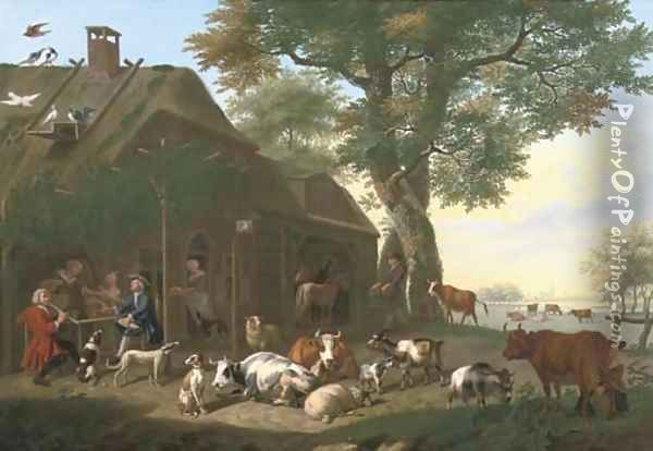 An elegant company by a tavern, with cows, sheep, goats and other animals Oil Painting - Jan van Gool