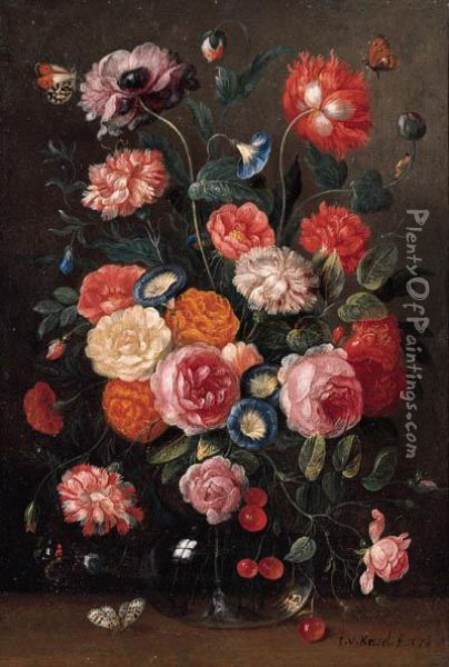 Roses, Carnations, Morning  Glory, A Poppy And A Sprig Of Cherriesin A Glass Vase, A Wall Brown, An  Orange Tip, A Red Admiral And Amagpie Butterfly On A Table Oil Painting - Jan van Kessel
