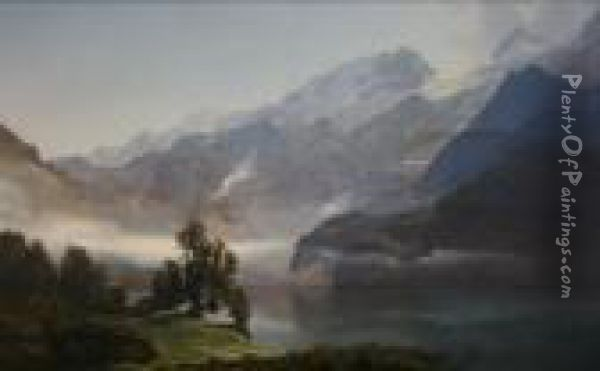 Morning At The Vierwaldstatter Lake Oil Painting - Janus Andreas La Cour