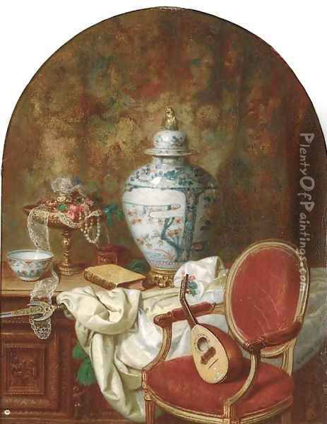 An oriental urn and other decorative objects on an oak coffer beside a mandolin on a chair Oil Painting - Jean Alexandre Remy Couder