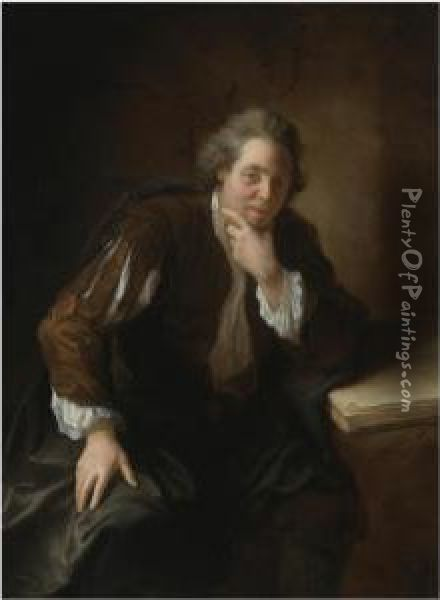 Portrait Of A Contemplative  Gentleman, Said To Be A Huguenot, Resting His Arm On An Open Book Oil Painting - Jean-Alexis Grimou