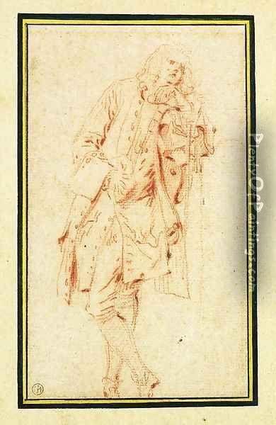 A Man leaning against a Pillar Oil Painting - Jean-Antoine Watteau
