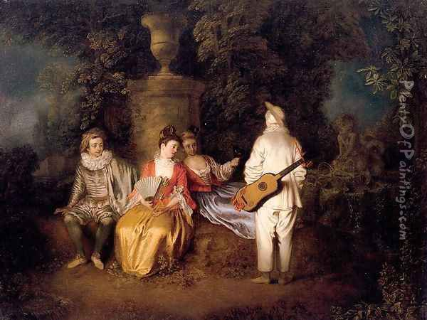 Party of Four 1713 Oil Painting - Jean-Antoine Watteau