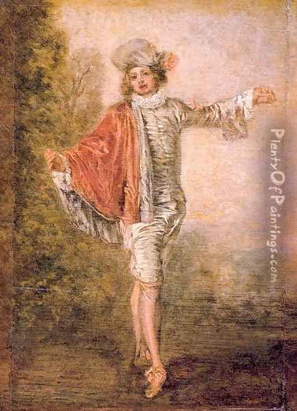 The Indifferent Man 1717 Oil Painting - Jean-Antoine Watteau
