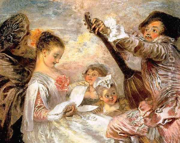 The Music Lesson 1719 Oil Painting - Jean-Antoine Watteau
