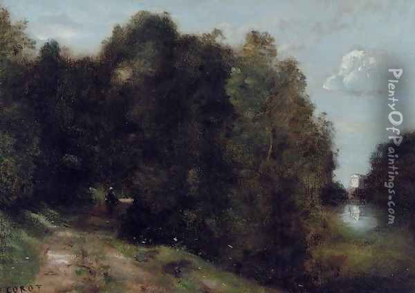 A Road through the Trees Oil Painting - Jean-Baptiste-Camille Corot