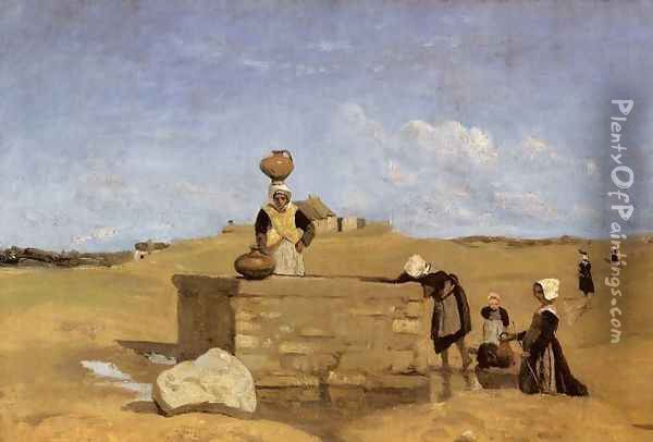 Breton Women at the Fountain Oil Painting - Jean-Baptiste-Camille Corot