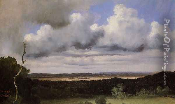Fontainebleau, Storm over the Plains Oil Painting - Jean-Baptiste-Camille Corot