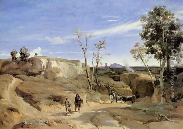 La Cervara, the Roman Countryside Oil Painting - Jean-Baptiste-Camille Corot