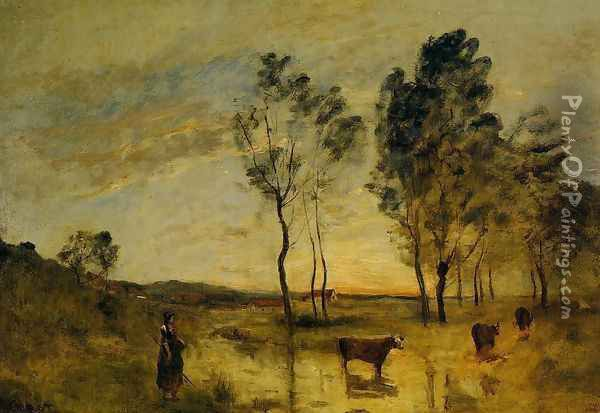Le Gue Oil Painting - Jean-Baptiste-Camille Corot