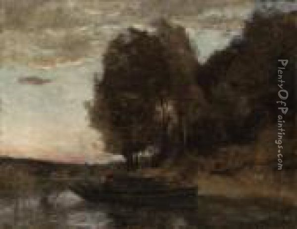 Pcheur En Barque Longeant Une Crte Boise (fisherman Boating Along Awooded Landscape) Oil Painting - Jean-Baptiste-Camille Corot
