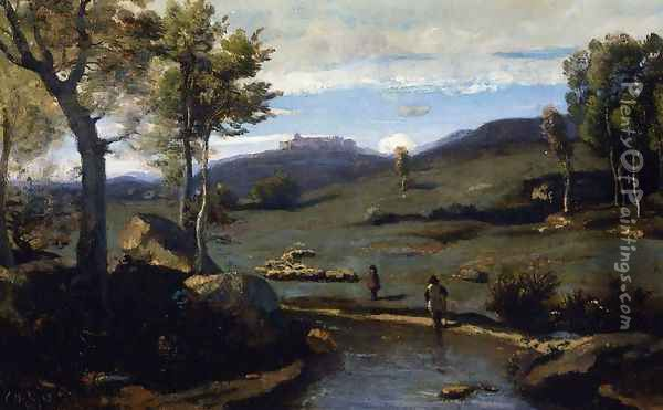 Roman Countryside - Rocky Valley with a Herd of Pigs Oil Painting - Jean-Baptiste-Camille Corot