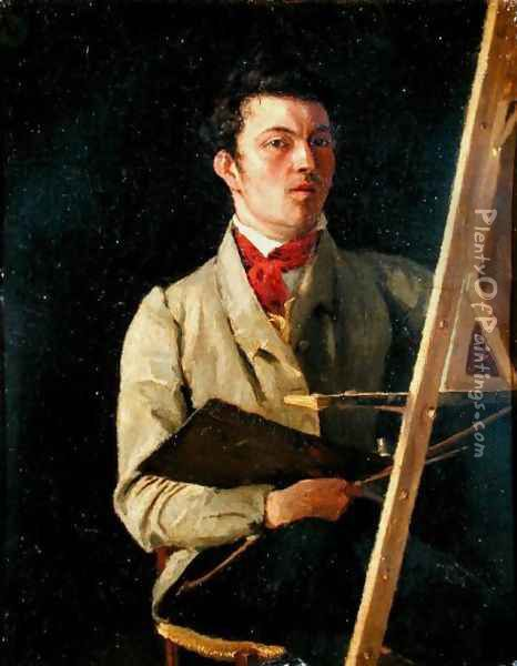 Self Portrait, Sitting next to an Easel, 1825 Oil Painting - Jean-Baptiste-Camille Corot