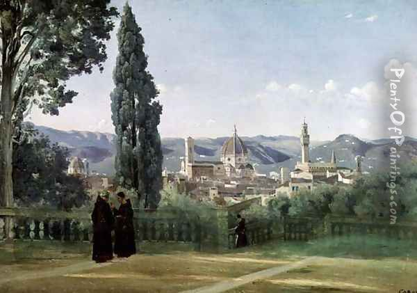 View of Florence from the Boboli Gardens, c.1834-36 Oil Painting - Jean-Baptiste-Camille Corot