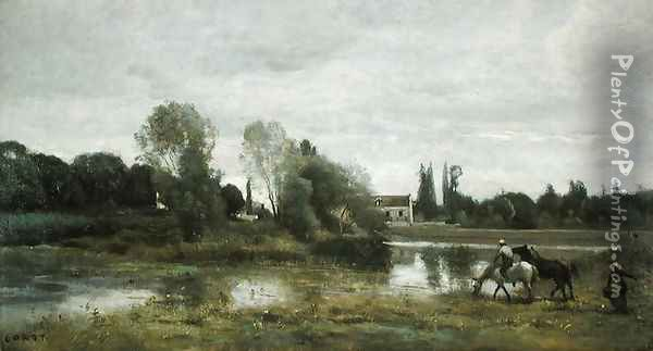Ville d'Avray, Horses Watering, c.1860-65 Oil Painting - Jean-Baptiste-Camille Corot