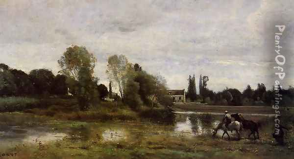 Ville d'Avray - The Horses Watering Place Oil Painting - Jean-Baptiste-Camille Corot