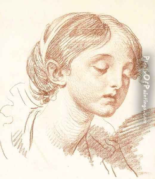 Head of a girl looking down, in three-quarter profile to the right Oil Painting - Jean Baptiste Greuze