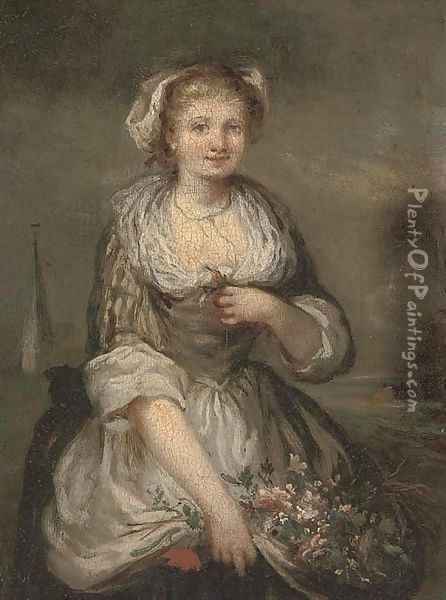Portrait of a girl, three-quarter-length, with a bunch of flowers Oil Painting - Jean Baptiste Greuze