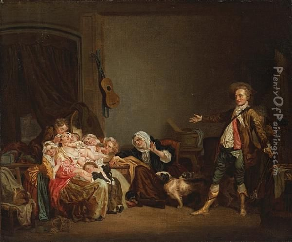 The Well-loved Mother Oil Painting - Jean Baptiste Greuze