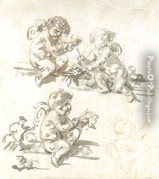 Three Studies Of Putti Oil Painting - Jean Baptiste Greuze