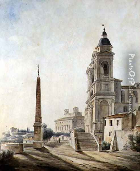 The French Academy in Rome, 1827 Oil Painting - Jean-Baptiste Philippe Cannissie