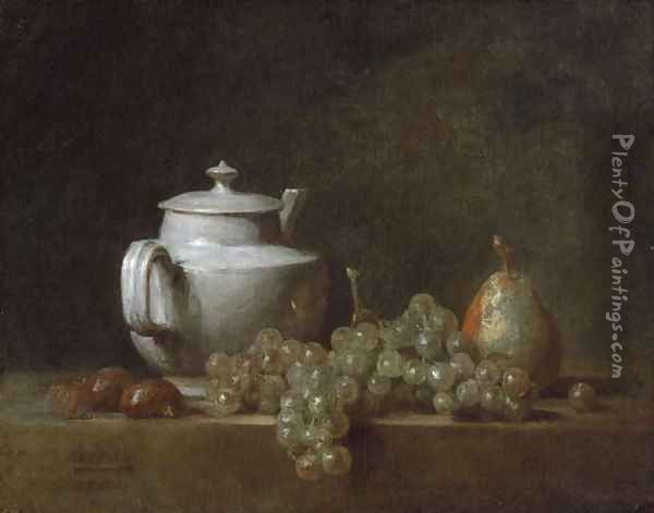Still Life with Tea Pot, Grapes, Chesnuts, and a Pear, c.1764 Oil Painting - Jean-Baptiste-Simeon Chardin
