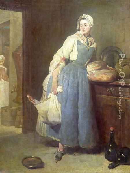 The Kitchen Maid with Provisions, 1739 Oil Painting - Jean-Baptiste-Simeon Chardin