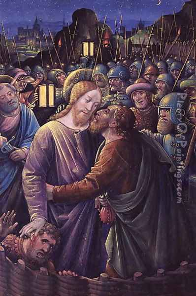 The Kiss of Judas (end of 15th century) Oil Painting - Jean Bourdichon