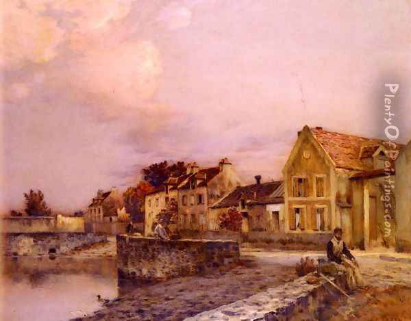 Figures At The Village Pond, Sunset Oil Painting - Jean-Charles Cazin