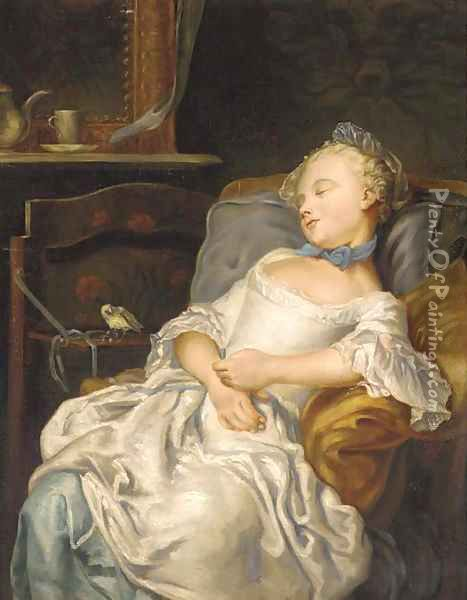 Portrait of a girl sleeping on a chair, a songbird beside her Oil Painting - Jean Francois Colson