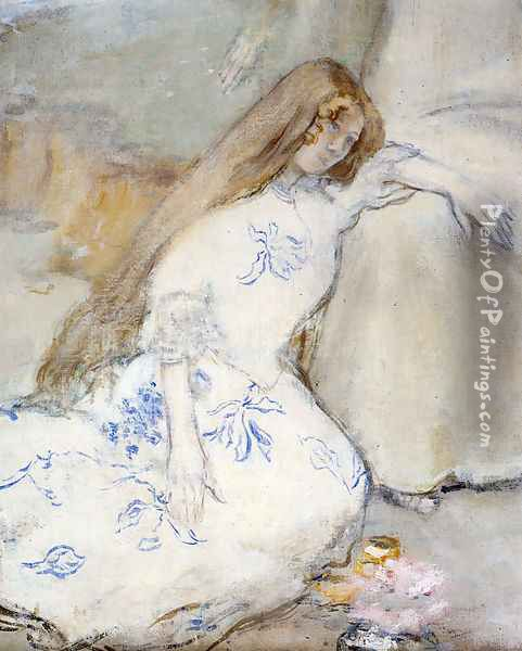 A Young Girl Resting Oil Painting - Jean-Francois Raffaelli