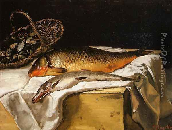 Still Life with Fish Oil Painting - Jean Frederic Bazille