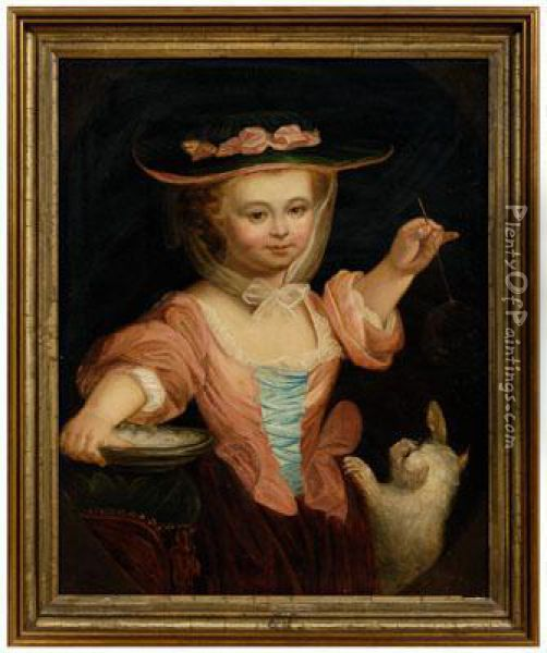 Child Playing With Bubbles And A Cat Oil Painting - Jean-Germain Drouais