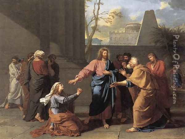 The Woman of Canaan at the Feet of Christ 1784 Oil Painting - Jean-Germain Drouais