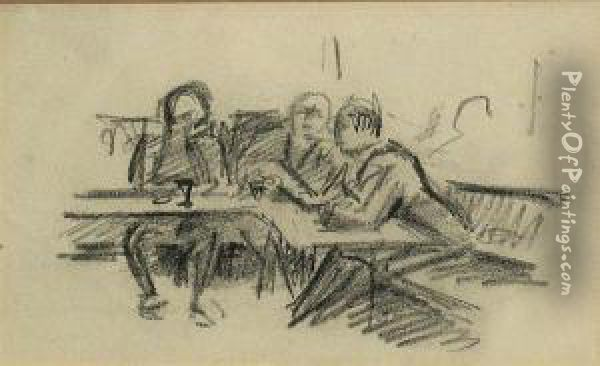 Untitled (street Scene); Untitled (tavernscene With 3 Figures) (2) Oil Painting - Jean Hippolyte Marchand