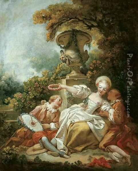 La coquette fixee ('The Fascinated Coquette') Oil Painting - Jean-Honore Fragonard