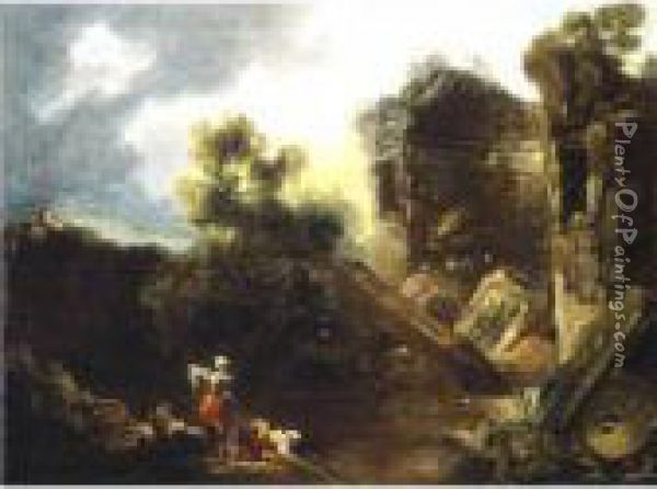 Laundresses By A River With Roman Ruins Beyond Oil Painting - Jean-Honore Fragonard