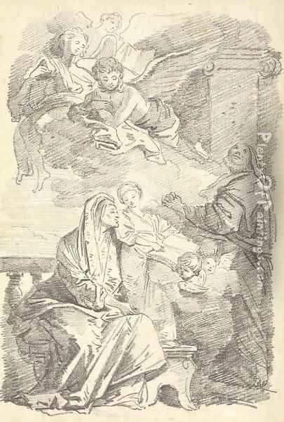 Saint Anne teaching the young Virgin to read, after Giovanni Battista Tiepolo Oil Painting - Jean-Honore Fragonard