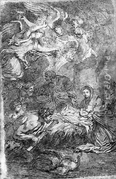 The Adoration of the Shepherds, after Castiglione Oil Painting - Jean-Honore Fragonard