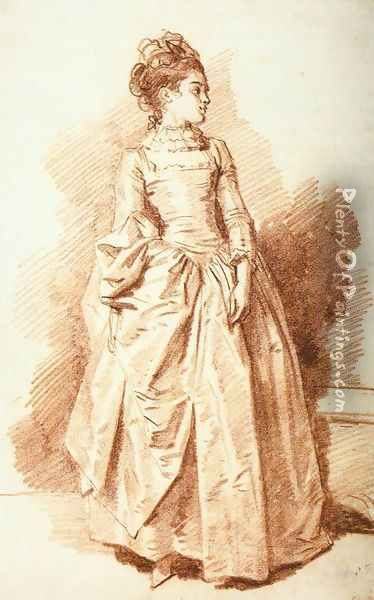Young Woman Standing 1775-85 Oil Painting - Jean-Honore Fragonard