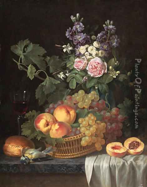Roses, stocks, jasmine and other flowers in a vase, with peaches and grapes in a basket, a glass of wine, a blue tit Oil Painting - Jean-Joseph-Xavier Bidauld