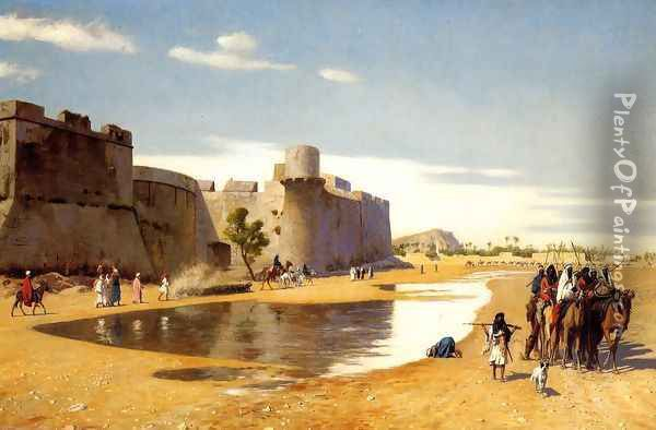 An Arab Caravan outside a Fortified Town, Egypt Oil Painting - Jean-Leon Gerome