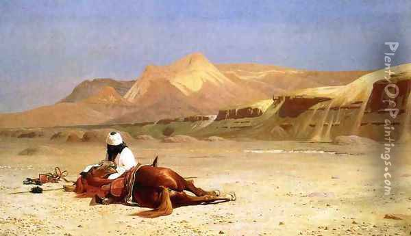 An Arab and His Horse in the Desert Oil Painting - Jean-Leon Gerome